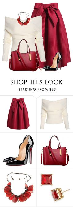 """Christmasy"" by daiscat ❤ liked on Polyvore featuring Christian Louboutin and Kate Spade"