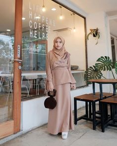 Casual Hijab Outfit, Hijab Dress, Peplum Dress, Brocade Dresses, Muslim Women, Kebaya, Hijab Fashion, Cute Dresses, Abaya Style