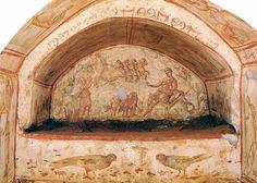 L'ascensione di Elia e il Buon Pastore. Roma, Catacombe della Via Latina.