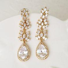 73847f610 Gold Chandelier Bridal Earrings Cubic Zirconia Tear Drop & Leaf Connectors  Gold Chandelier Earrings, Gold