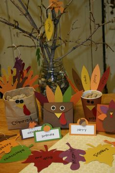 Thanksgiving crafts... I like the Hand print leaves