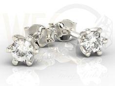 Kolczyki z białego złota z diamentami/ Earrings made from white gold with a diamonds / 1562 PLN #gold #jewelry #diamonds #earrings #jewellery