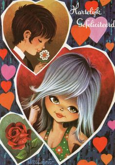 Vintage postcard 70s with hearts by CuteEyeCatchers on Etsy