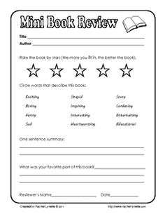 Great Great For When You Donu0027t Want To Do A Full Fledged Book Report. Homeschool  WorksheetsPrintable ...  Printable Book Review Template