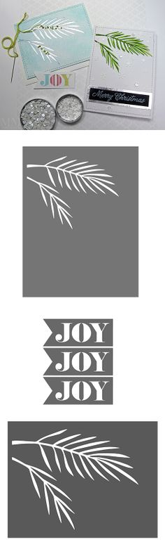 free Christmas tree bough & 'JOY' flag - Silhouette & SVG cutting files #CutFile