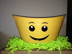 Lego bucket basket tub Easter Basket-Can Be Personalized-Only 2 yellow available-order til - - Vinyl Crafts, Vinyl Projects, Lego Bucket, Silent Auction Baskets, Lego Birthday Party, Diy Ostern, Easter Baskets, Easter Crafts, Legos
