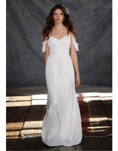 7caff1a6fb5c Spaghetti Straps Ruched Waist Long Empire A-line Chiffon Wedding Dress  Wedding 2017
