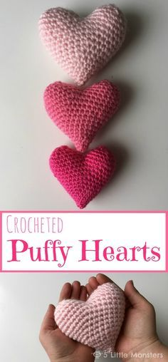 Free pattern for a crocheted puffy heart. Different sizes are made with the same pattern, using different yarn and hooks. Perfect for Valentines Day.
