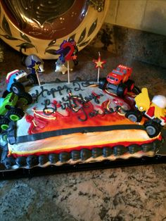 Photo Only Cake Was Purchased At Food Lion And We Added The Blaze Trucks Birthday Candles Were Dollar Tree
