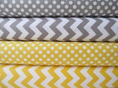 just delivered today! Can't wait to start sewing with these fabrics Yellow and Gray Chevrons and Dots by Riley Blake by minimushrooms, $18.00