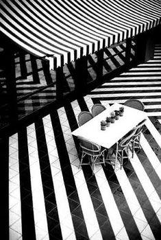 Amazing use of stripes! Black and white stripe inspiration!