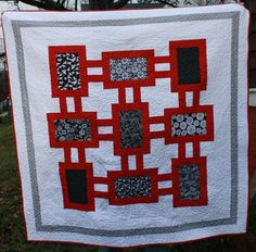 IRed Black and White Quilt