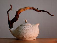 Einsame Wüste Keramik Teekanne mit Holzgriff