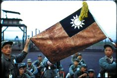 Orig Red Border Kodachrome Slide Korean War Korea POW Camp Prisoners Flag