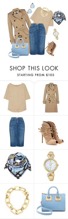 """""""outfit  2540"""" by natalyag ❤ liked on Polyvore featuring Halston Heritage, Burberry, Current/Elliott, Gianvito Rossi, Joanna Allsop, Seiko, Michael Kors, Sophie Hulme and Linda Farrow"""
