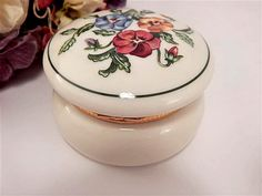 Trinket Dish Ring Box Tea Light Candle Holder Floral Covered Dish Dressing Table Accessory