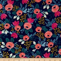 Designed by the famous Rifle Paper Co. for Cotton + Steel, bold colors meet whimsical botanicals in this gorgeous collection. This print features a larger scale version of rifle's famous roses. This medium weight (6 oz./square yard) cotton blend canvas fabric is truly versatile. It is perfect for tote bags, toss pillows, window treatments, and apparel like skirts and jackets. Colors include