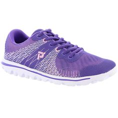 Propet Travel Activ Knit Women's Purple Sneaker 11 M ($65) ❤ liked on Polyvore featuring shoes, sneakers, purple, propet sneakers, travel shoes, lace up shoes, traction shoes and purple shoes