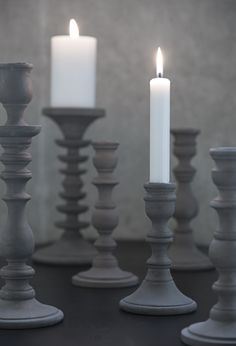 Grey Candlesticks and white candles Dove Grey, Grey And White, Chandeliers, Grey Candles, Vibeke Design, Touch Of Gray, Gray Aesthetic, Gray Matters, Fifty Shades Of Grey