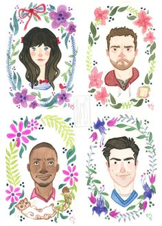 new girl: jessica day and her bows, nick miller and a sandwich, winston bishop and ferguson, and schmidt.
