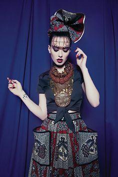 Lena Hoschek, Peacock Kinshasa Skirt, African Fashion, decorative head wrap