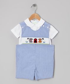 Take a look at this White Shirt & Blue Puppy John Johns - Infant & Toddler on zulily today!