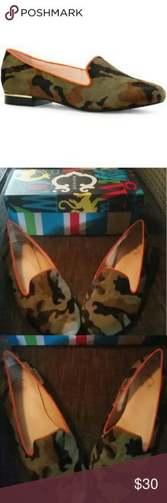 Camo C.wonder Flat +Box Camo & Orange C.Wonder Calf Hair Loafer Good Condition Besides  Wearing on The Toe (Easily Fixed or Covered) As Pictured Above Comes With Box Orignal Price Still On Aslo Pictured Above :) Tory Burch Shoes Flats & Loafers