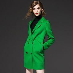Autumn Winter Womens Jackets and Coat double Button Medium Long Thicken Female Elegant Warm Woolen windbreak Coat 65215