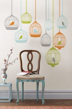 Bird cage decals (this would be cute in the family room once the wallpaper comes down!)