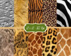 Animal Fur Print - Printable Scrapbook Paper 2 - Scrap Paper Pack - Card Making Animal Background Image Embellishments