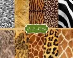 Animal Fur Print - Printable Scrapbook Paper 2 - Scrap Paper Pack - Card Making Animal Background Image Embellishments