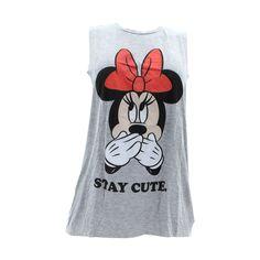 Disney - Women's Minnie Stay Cute Muscle Tank - Grey