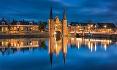 The famous historical Water gate in the city of Sneek, Netherlands.
