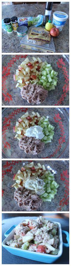 skinny tuna salad made with apples, celery, greek yogurt, and spices!