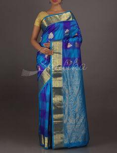 Jaishree Cool Blue Checks Gold Motifs #BangaloreSilkSaree