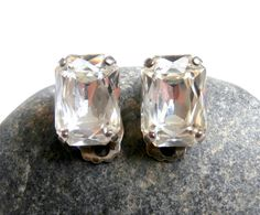 Vintage Crystal Earrings  1980's Retro Clip Ons by ReTainReUse, $14.00
