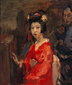 Galerii de arta: Isaac Israëls februarie 1865 – 7 octombrie Japanese woman in red kimono. Woman Painting, Figure Painting, Geisha, James Ensor, Japon Tokyo, Van Gogh Sunflowers, Dutch Painters, Dutch Artists, Portraits