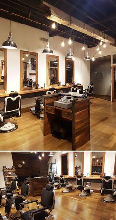 Barber Shop Furnitures by Yard Furniture seen at Specialist Barber, Thornbury Modern Barber Shop, Best Barber Shop, Barber Shop Interior, Barber Shop Decor, Beauty Salon Interior, Salon Interior Design, Yard Furniture, Custom Furniture, Furniture Design