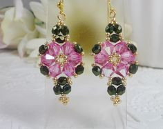 Woven Flower Earrings Rose Pink Swarovski Crystals and Dark Forest Green