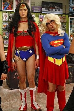 The Big Bang Theory's Sheldon Cooper & Leonard Hofstadter - love them! And having worked in a comic store, I love all geek-jokes :)