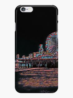'Stained Glass Santa Monica Pier' iPhone Case by Cover Model, Long Hoodie, Santa Monica, Iphone Case Covers, Black Backgrounds, Ipad Case, Decorative Throw Pillows, Stained Glass, Photograph