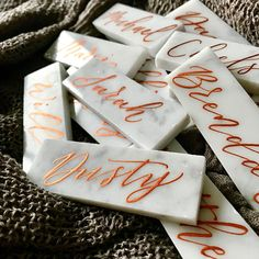 Rose gold and copper wedding accents are the latest trends in weddings. Take a look at our top picks from Etsy featuring these gorgeous colors. Copper Wedding, Gold Wedding, Diy Wedding, Wedding Tables, Gold Calligraphy, Wedding Calligraphy, Wedding Place Cards, Wedding Things, Green Wedding Shoes