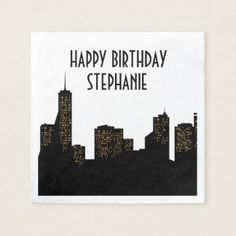 City Theme, Black and Gold Party, Custom Napkins