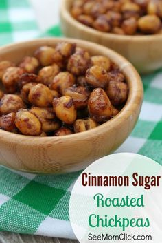 Yum! This Cinnamon Sugar Roasted Chickpeas recipe is so easy to make & so delicious. A healthier food choice, perfect for snacks, appetizers, or party food!