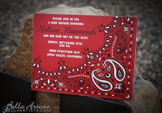 Bandana Invitation, Western, Cowboy, Cowgirl or Farm Themed Baby or Bridal Shower. Perfect Rustic Save the Date Invite