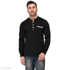 Tshirts Men's Collar Full Sleeves Solid Black T-Shirt Fabric: Cotton Sleeve Length: Long Sleeves Pattern: Solid Multipack: 1 Sizes: S (Chest Size: 39 in Length Size: 27.5 in)  XL (Chest Size: 45 in Length Size: 29 in)  L (Chest Size: 43 in Length Size: 28.5 in)  M (Chest Size: 41 in Length Size: 28 in)  XXL (Chest Size: 47 in Length Size: 29.5 in) Country of Origin: India Sizes Available: S, M, L, XL, XXL   Catalog Rating: ★4.2 (501)  Catalog Name: Trendy Elegant Men Tshirts CatalogID_1148540 C70-SC1205 Code: 853-7195733-999