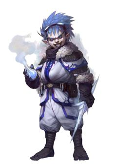 Male Halfling Ice Chemist Alchemist - Pathfinder PFRPG DND D&D 3.5 5th ed d20 fantasy