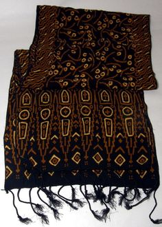 www.indonesian-batik.com Scarf Wrap, Black And Brown, Women's Accessories, Shawl, Textiles, Fabric, Cotton, Handmade, Fashion