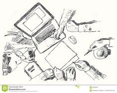 Sketch Business Meeting Handshake Top View Drawn Stock Vector - Image: 58508347