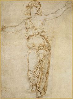 Lucretia, 1508–12  Raphael (Raffaello Sanzio or Santi) (Italian, Marchigian, 1483–1520)  Pen and brown ink over black chalk, partially incised with a stylus (recto), rubbed with black chalk for transfer (verso)